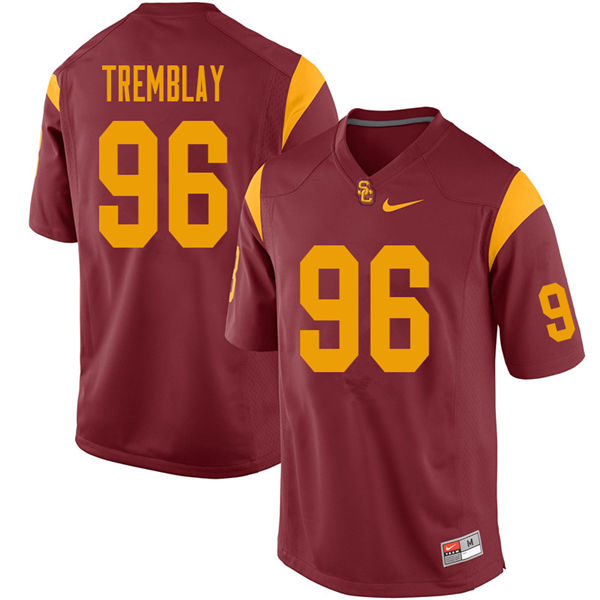 Men #96 Caleb Tremblay USC Trojans College Football Jerseys Sale-Cardinal