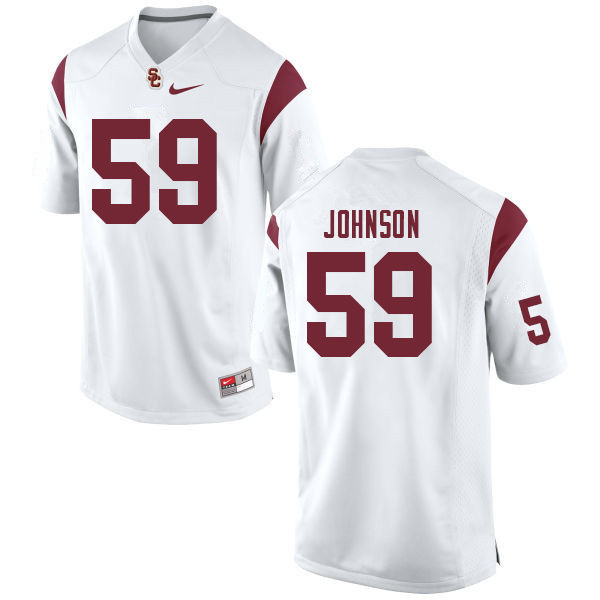 Men #59 Damon Johnson USC Trojans College Football Jerseys Sale-White
