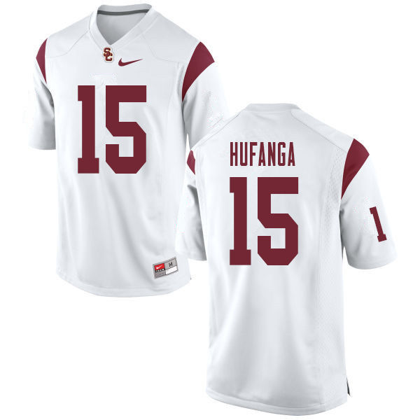 Men #15 Talanoa Hufanga USC Trojans College Football Jerseys Sale-White