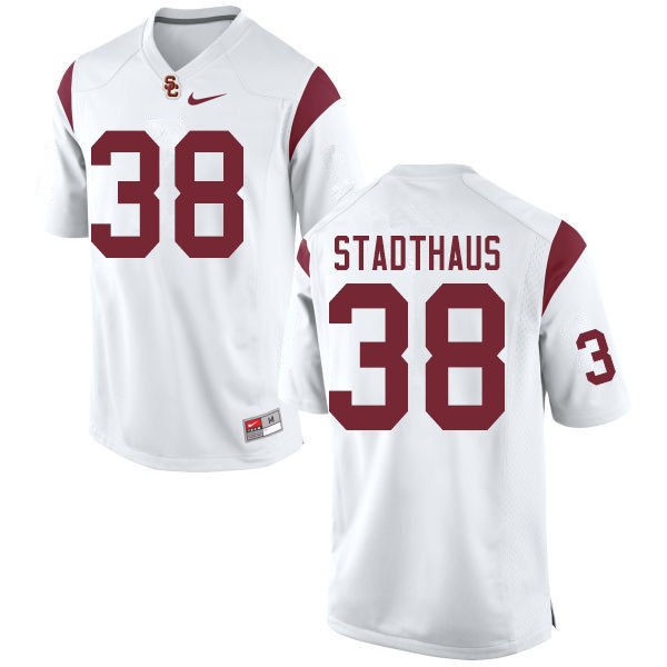 Men #38 Alex Stadthaus USC Trojans College Football Jerseys Sale-White