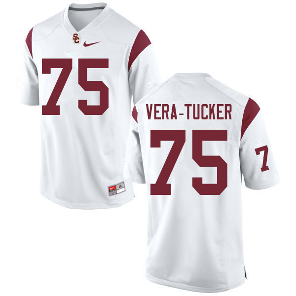 Men #75 Alijah Vera-Tucker USC Trojans College Football Jerseys Sale-White