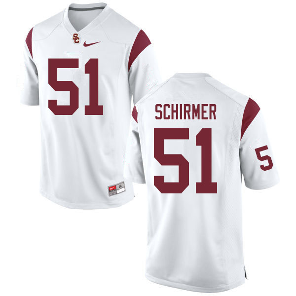Men #51 Bernard Schirmer USC Trojans College Football Jerseys Sale-White
