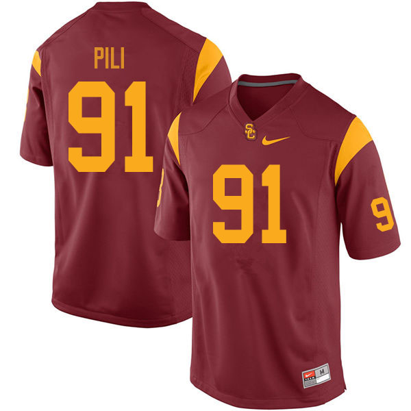Men #91 Brandon Pili USC Trojans College Football Jerseys Sale-Cardinal