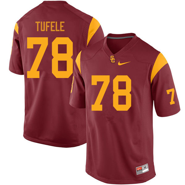 Men #78 Jay Tufele USC Trojans College Football Jerseys Sale-Cardinal