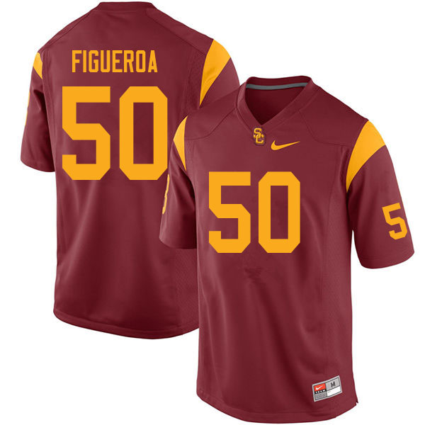 Men #50 Nick Figueroa USC Trojans College Football Jerseys Sale-Cardinal