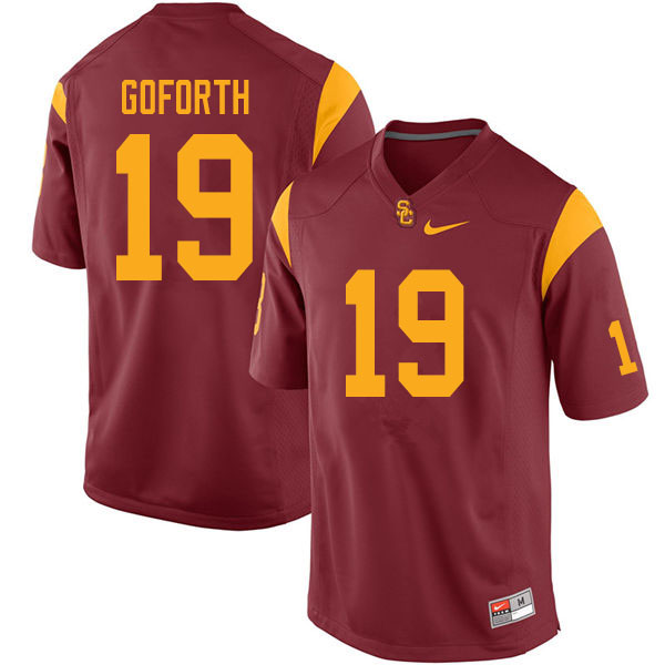 Men #19 Ralen Goforth USC Trojans College Football Jerseys Sale-Cardinal