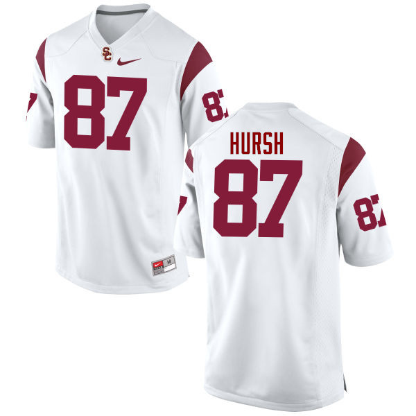 Men #87 Alec Hursh USC Trojans College Football Jerseys-White