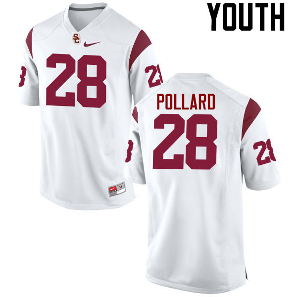 Youth #28 C.J. Pollard USC Trojans College Football Jerseys-White