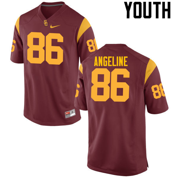 Youth #86 Cary Angeline USC Trojans College Football Jerseys-Cardinal