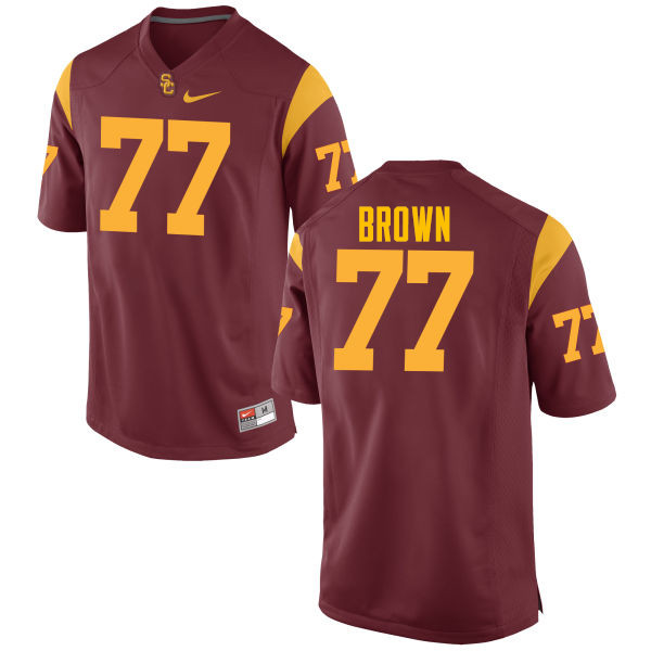 Men #77 Chris Brown USC Trojans College Football Jerseys-Cardinal