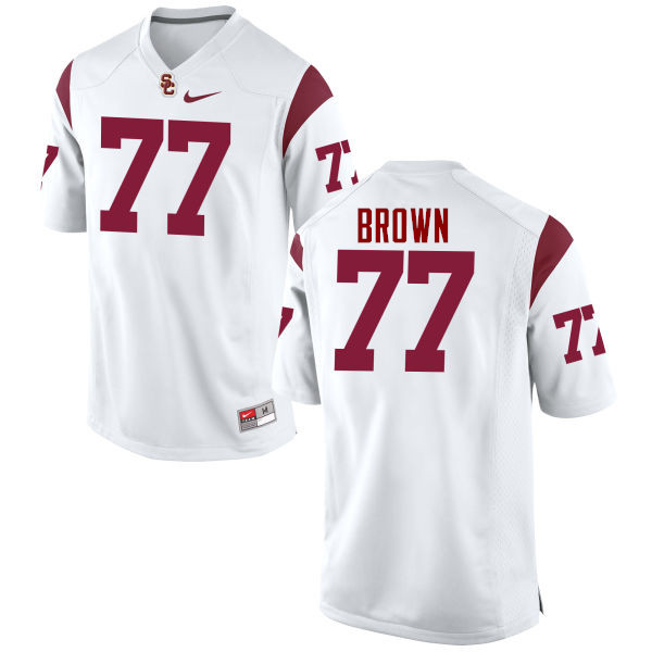 Men #77 Chris Brown USC Trojans College Football Jerseys-White