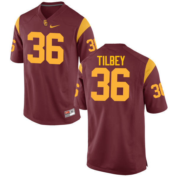 Men #36 Chris Tilbey USC Trojans College Football Jerseys-Cardinal