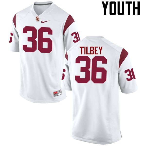 Youth #36 Chris Tilbey USC Trojans College Football Jerseys-White