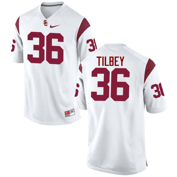 Men #36 Chris Tilbey USC Trojans College Football Jerseys-White