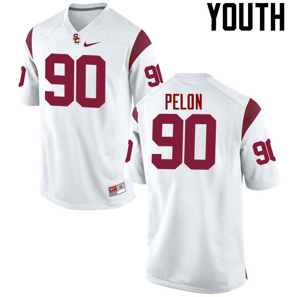 Youth #90 Claude Pelon USC Trojans College Football Jerseys-White