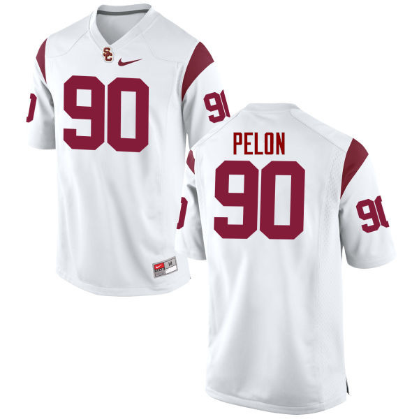 Men #90 Claude Pelon USC Trojans College Football Jerseys-White