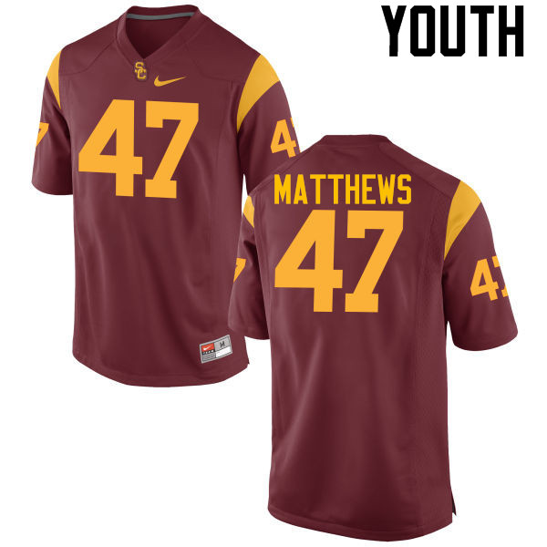 Youth #47 Clay Matthews USC Trojans College Football Jerseys-Cardinal