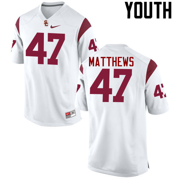 Youth #47 Clay Matthews USC Trojans College Football Jerseys-White