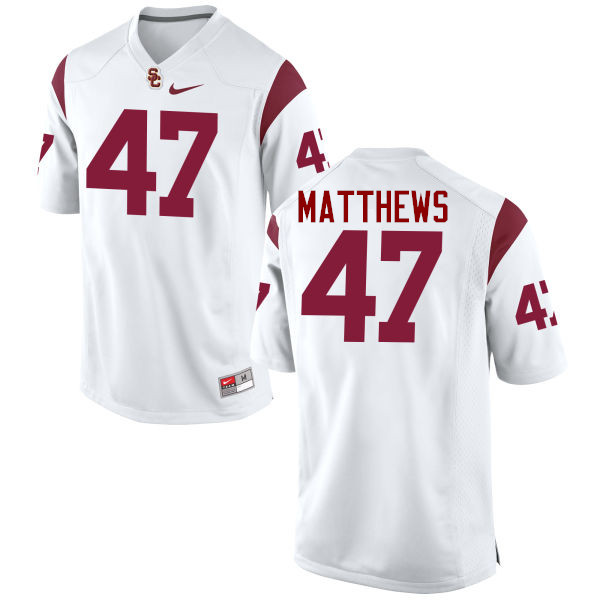 Men #47 Clay Matthews USC Trojans College Football Jerseys-White