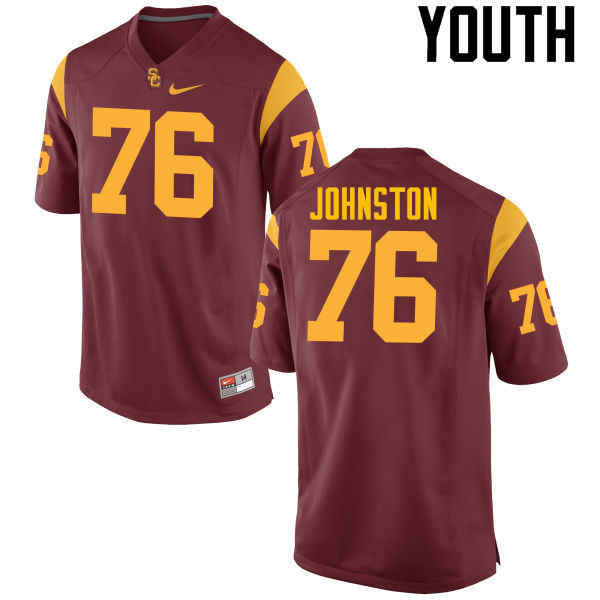 Youth #76 Clayton Johnston USC Trojans College Football Jerseys-Cardinal