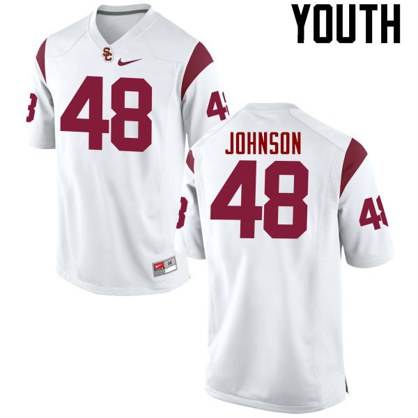 Youth #48 Damon Johnson USC Trojans College Football Jerseys-White
