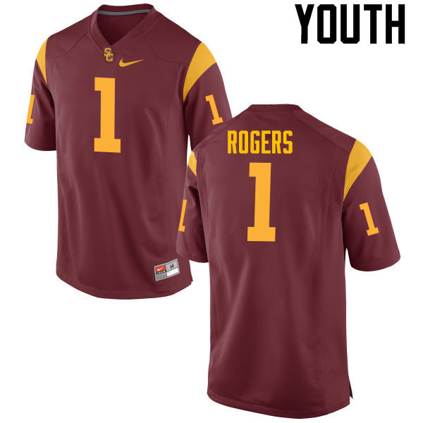 Youth #1 Darreus Rogers USC Trojans College Football Jerseys-Red