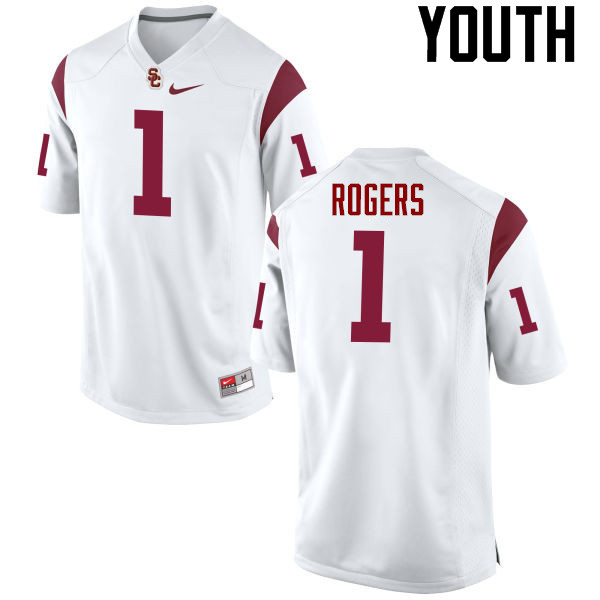 Youth #1 Darreus Rogers USC Trojans College Football Jerseys-White