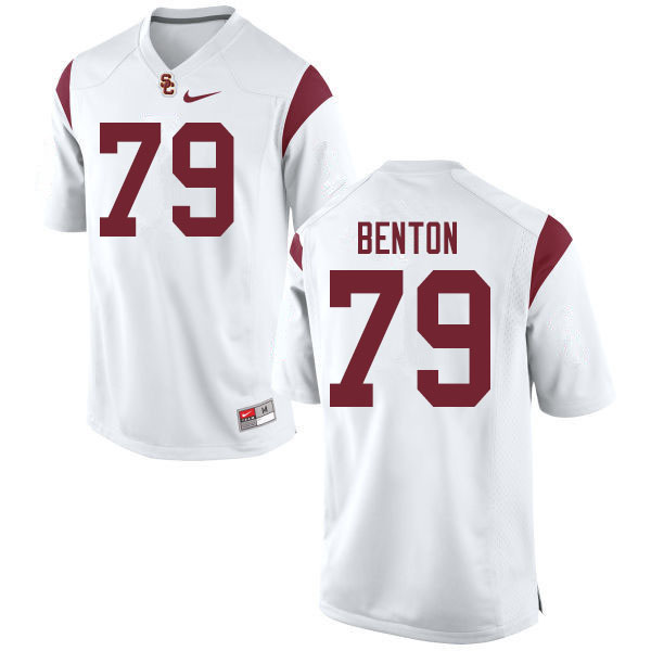 Men #79 De'jon Benton USC Trojans College Football Jerseys Sale-White