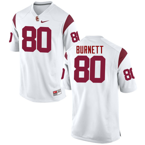 Men #80 Deontay Burnett USC Trojans College Football Jerseys-White