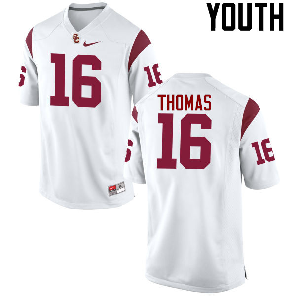 Youth #16 Holden Thomas USC Trojans College Football Jerseys-White