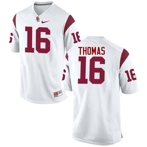 Men #16 Holden Thomas USC Trojans College Football Jerseys-White