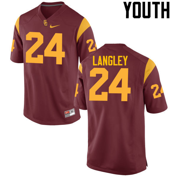 Youth #24 Isaiah Langley USC Trojans College Football Jerseys-Cardinal
