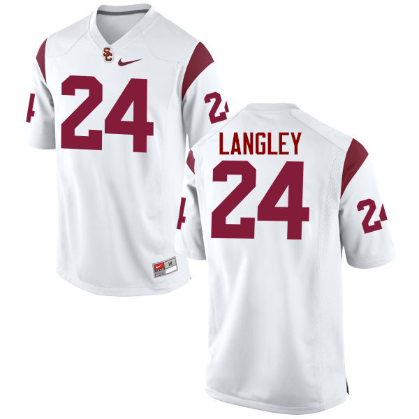 Men #24 Isaiah Langley USC Trojans College Football Jerseys-White