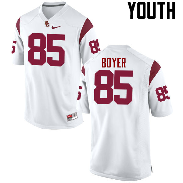 Youth #85 Jackson Boyer USC Trojans College Football Jerseys-White