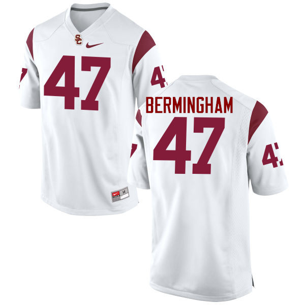 Men #47 James Bermingham Jr. USC Trojans College Football Jerseys-White