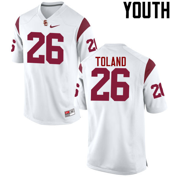 Youth #26 James Toland IV USC Trojans College Football Jerseys-White