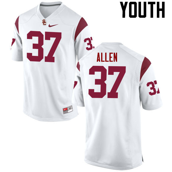 Youth #37 Javorius Allen USC Trojans College Football Jerseys-White