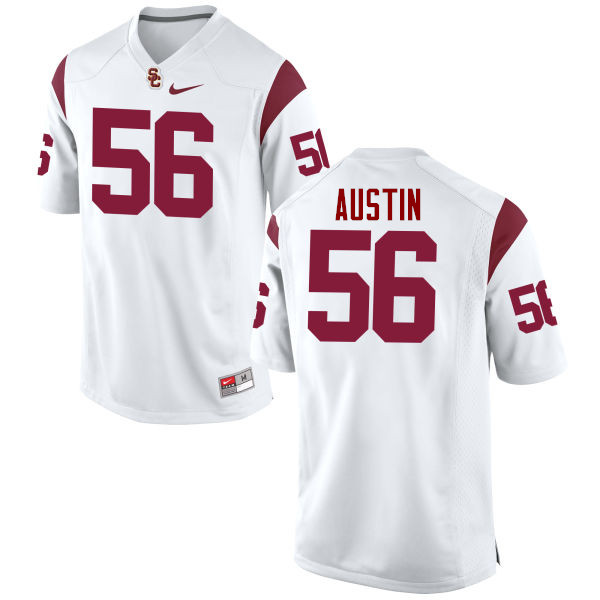 Men #56 Jordan Austin USC Trojans College Football Jerseys-White