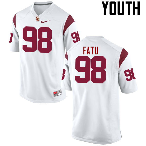Youth #98 Josh Fatu USC Trojans College Football Jerseys-White