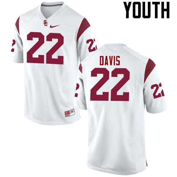 Youth #22 Justin Davis USC Trojans College Football Jerseys-White