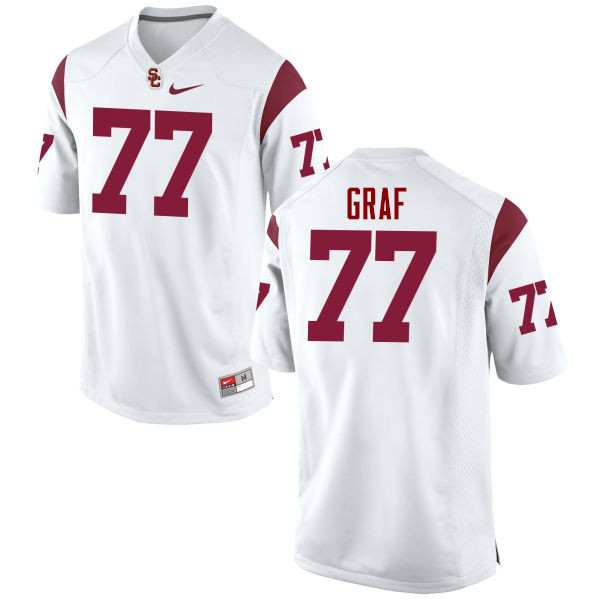 Men #77 Kevin Graf USC Trojans College Football Jerseys-White
