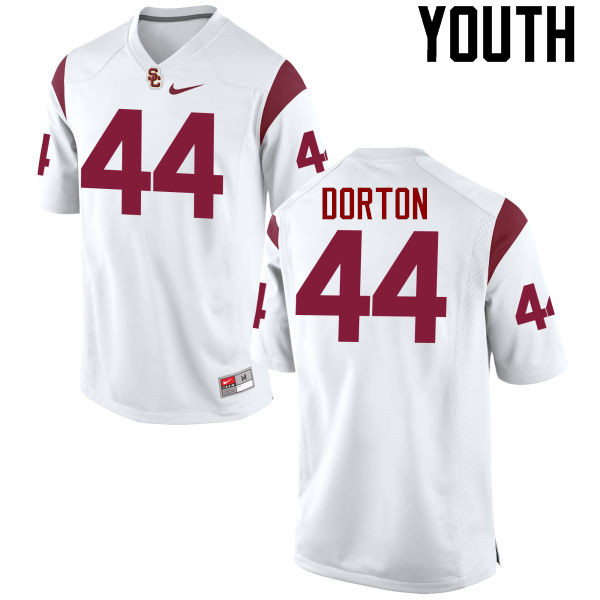 Youth #44 Malik Dorton USC Trojans College Football Jerseys-White