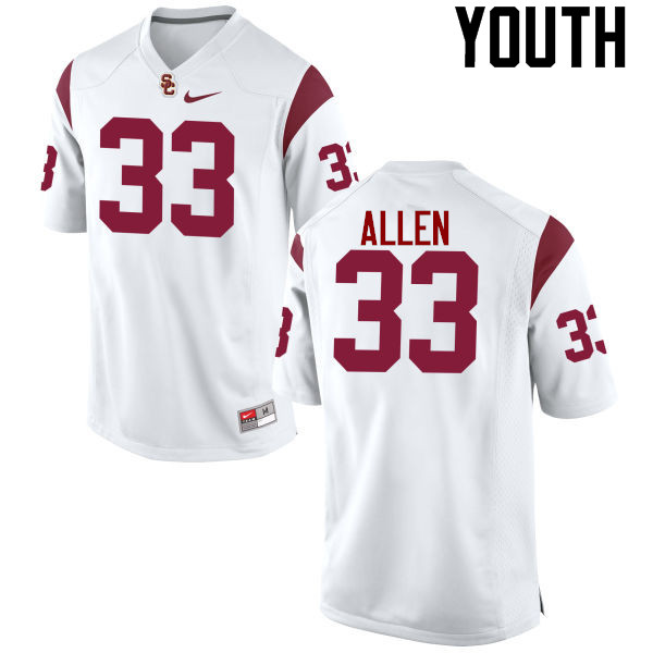 Youth #33 Marcus Allen USC Trojans College Football Jerseys-White