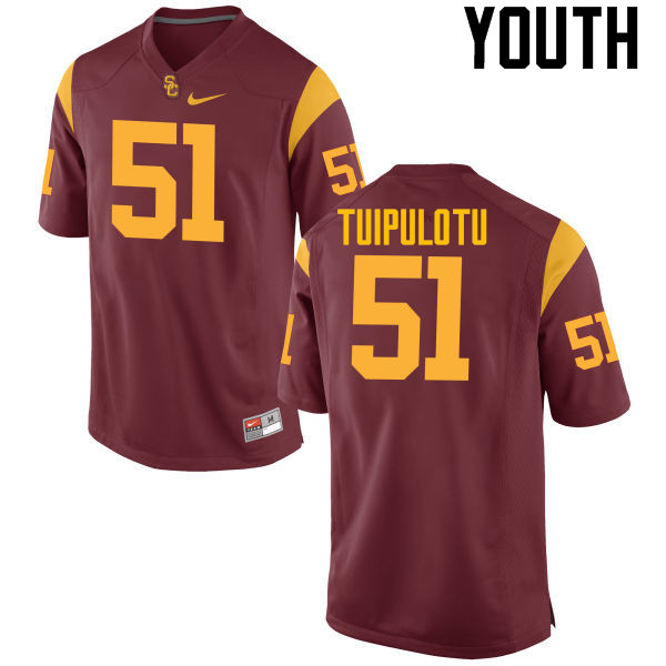 Youth #51 Marlon Tuipulotu USC Trojans College Football Jerseys-Cardinal