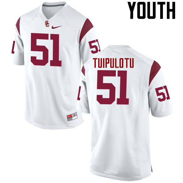 Youth #51 Marlon Tuipulotu USC Trojans College Football Jerseys-White