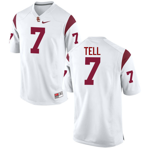 Men #7 Marvell Tell III USC Trojans College Football Jerseys-White