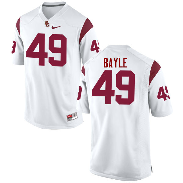Men #49 Matt Bayle USC Trojans College Football Jerseys-White