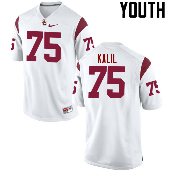 Youth #75 Matt Kalil USC Trojans College Football Jerseys-White