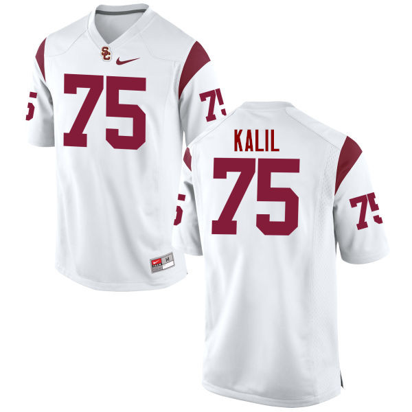 Men #75 Matt Kalil USC Trojans College Football Jerseys-White