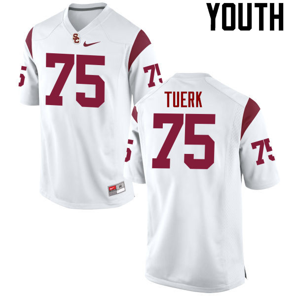 Youth #75 Max Tuerk USC Trojans College Football Jerseys-White